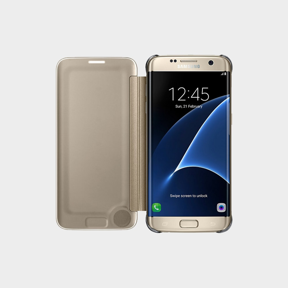 official photos 73f91 8fc19 Samsung Galaxy S7 Edge Clear View Cover Gold - AlaneesQatar.Qa