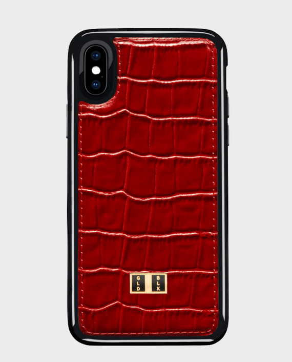 Gold Black iPhone X Case Croco Red in Qatar