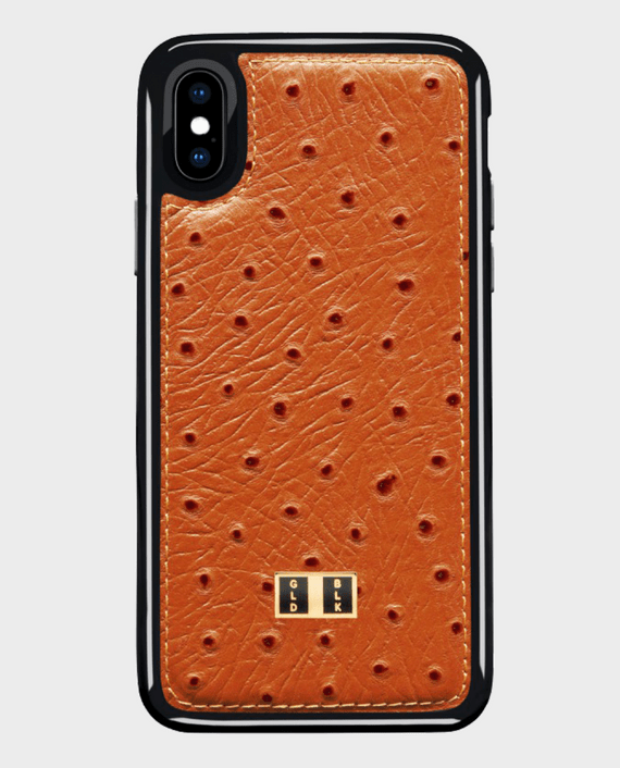 Gold Black iPhone X Leather Case Ostrich Orange in Qatar