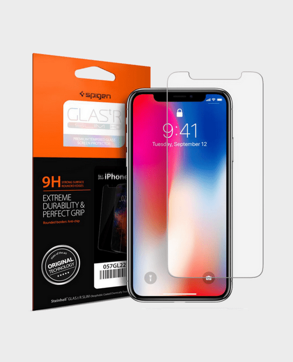 Spigen iPhone X Screen Protector GLAS.tR SLIM HD in Qatar