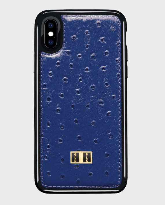 Gold Black iPhone X Leather Case Ostrich Royal Blue in Qatar