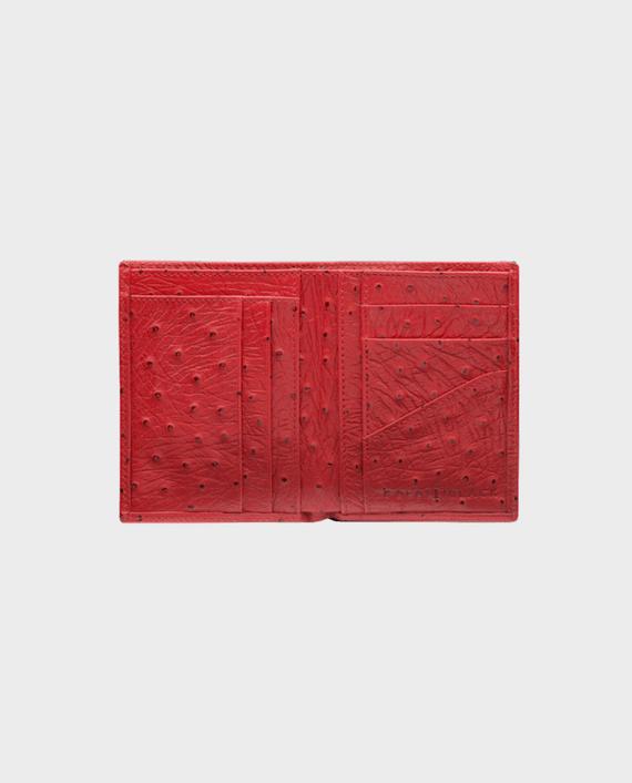Goldblack Bifold Slim Wallet Ostrich Red