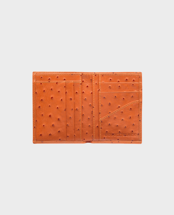 Goldblack Bifold Slim Wallet Ostrich Orange