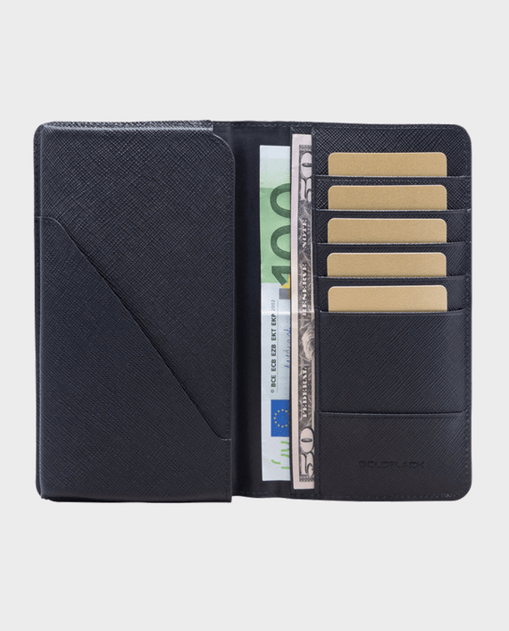 GoldBlack Smart Wallet Billion Saffiano Black