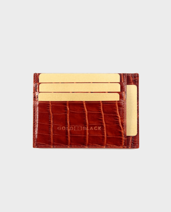 Gold Black Card Holder Bill Croco Brown