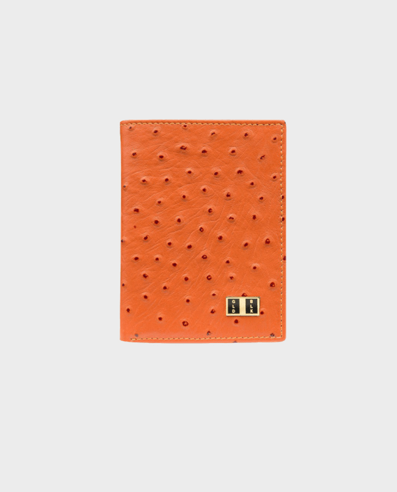 Goldblack Bifold Slim Wallet Ostrich Orange in Qatar