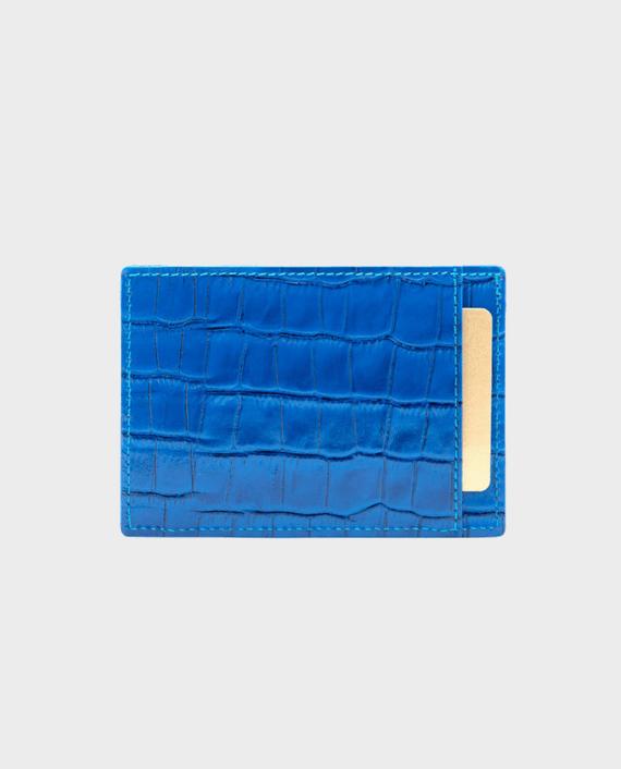 Gold Black Card Holder Bill Croco Ocean Blue