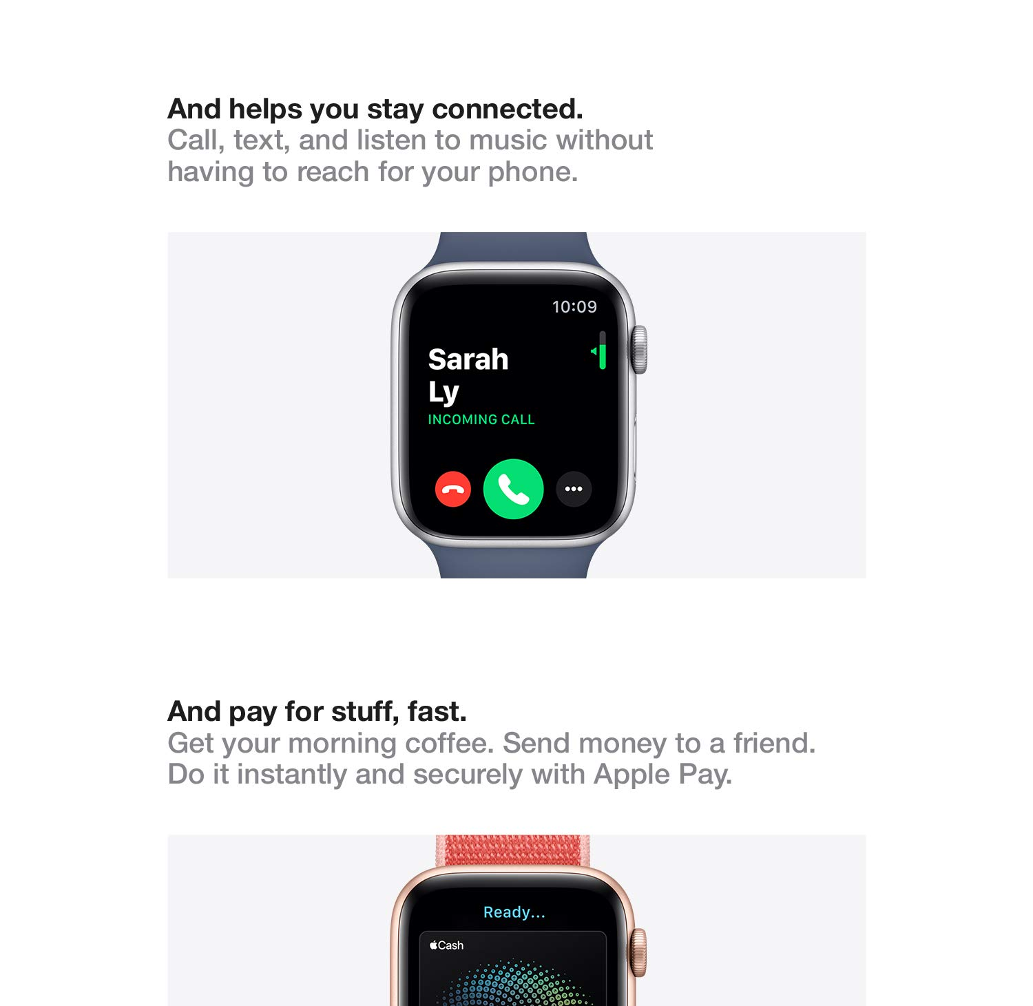 And pay for stuff, fast.  Get your morning coffee. Send money to a friend. Do it instantly and securely with Apple Pay.