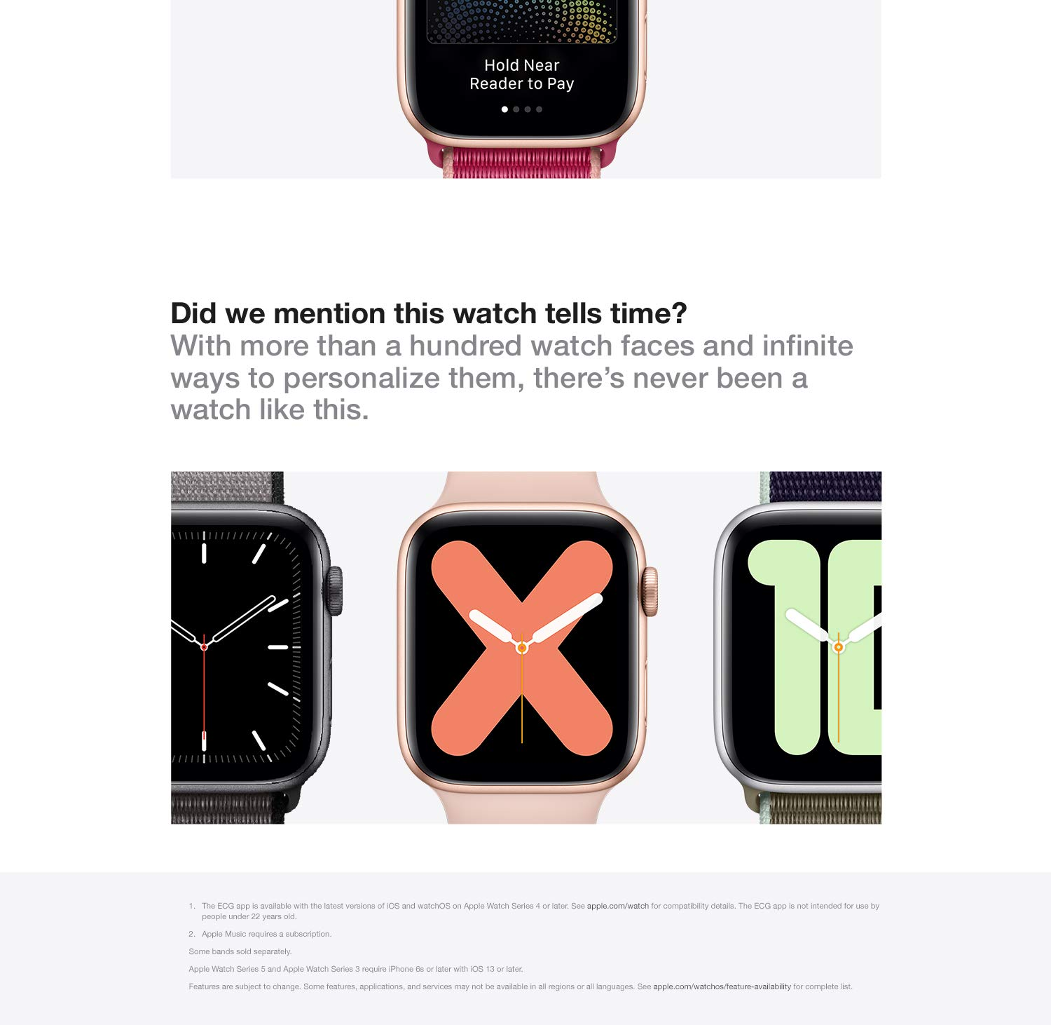 Did we mention this watch tells time? With more than a hundred watch faces and infinite ways to personalize them, there's never been a watch like this.