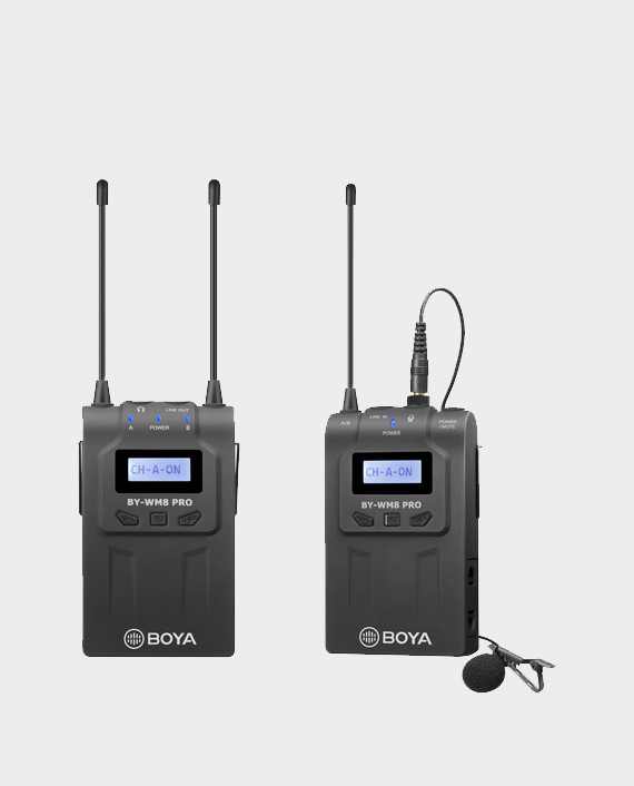 BOYA BY-WM8 Pro-K2 UHF Dual-Channel Wireless Lavalier System in Qatar