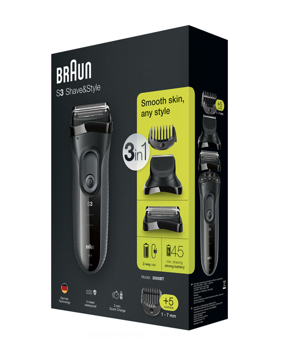 Braun Series 3 Shave&Style 3000BT shaver with trimmer head and 5 combs