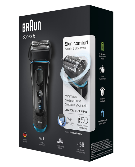 Braun Series 5 5140s Men's Electric Foil Shaver, Wet & Dry, Pop Up Precision Trimmer Black