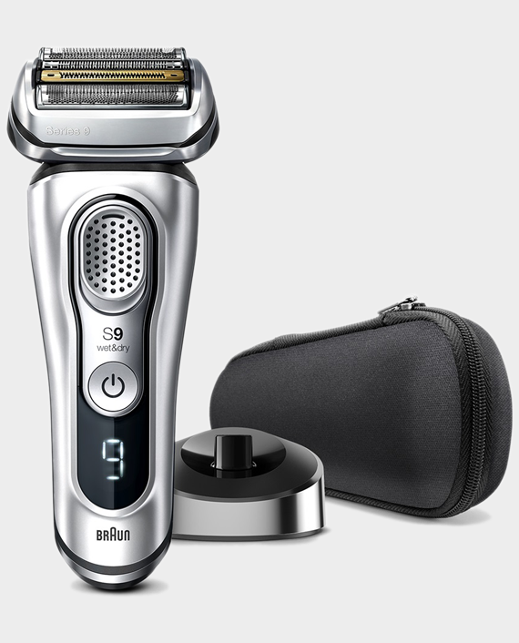 Braun Series 9 9350s Wet & Dry Shaver with Charging Stand - Silver in Qatar