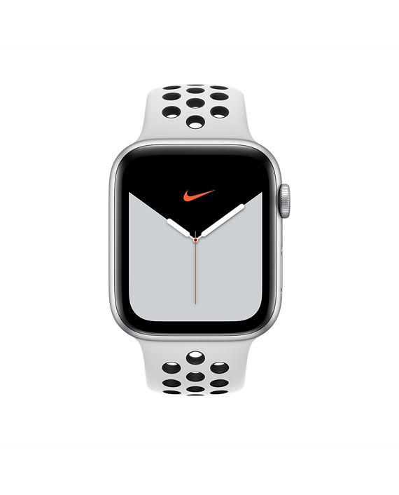 Apple Watch 44mm Pure Platinum-Black Nike Sport Band - Regular