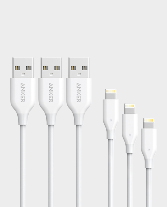 Anker Powerline + Lightning Cable 3FT - White in Qatar