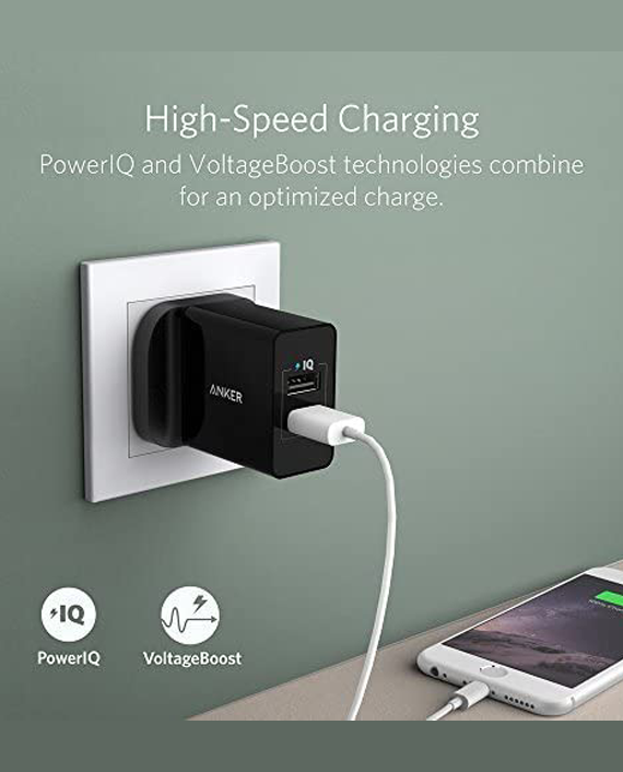 Anker 24W 2-Port USB With Micro USB Cable Black