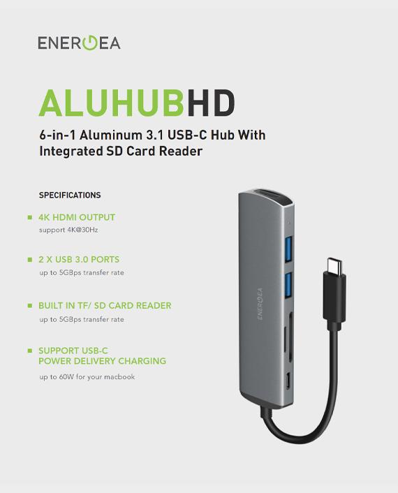Energea Aluhub HD 6 in 1 Super Speed Aliminium 3.1 USB C Hub