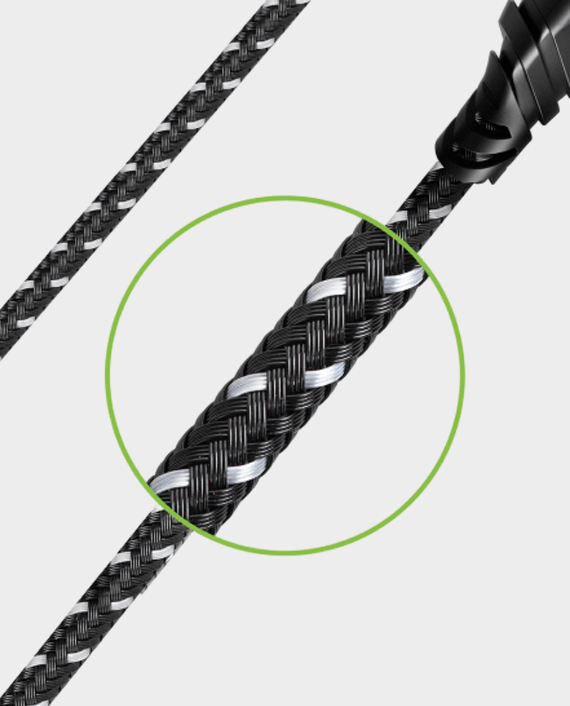Energea DuraGlitz Charge and Sync Tough Lightning MFI Cable 1.5m Black