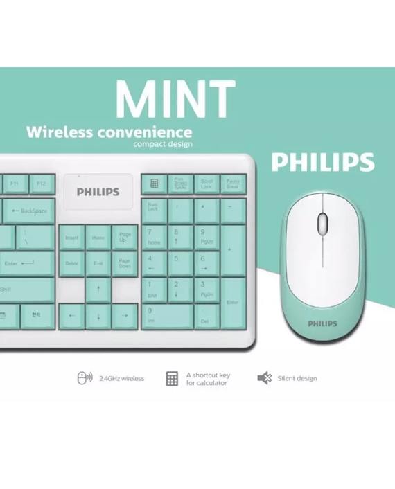 Philips SPT6314 Wired Keyboard & Mouse Combo Cyan