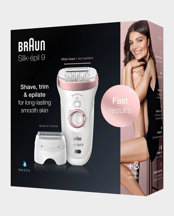 Braun Silk-epil 9-720 Wet & Dry Epilator with 4 extras Include Shaver Head