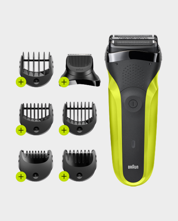 Braun 300BT Series 3 Shaver with Trimmer Head and 5 Combs - Green in Qatar