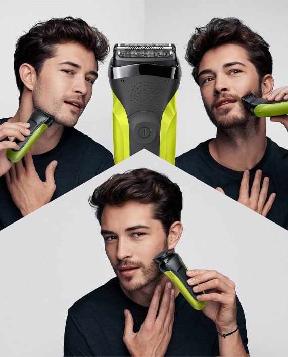 Braun 300BT Series 3 Shaver with Trimmer Head and 5 Combs Green