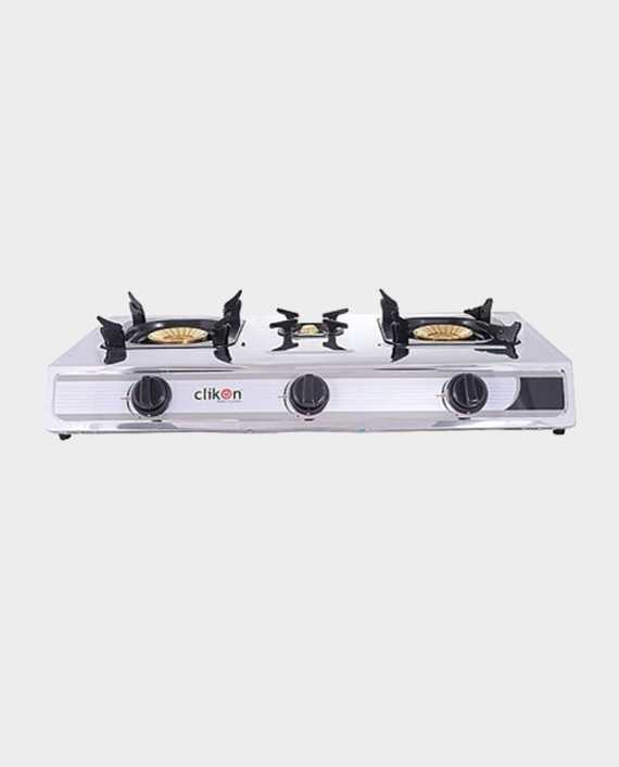 Clikon CK4253-N Triple Burner Stainless Steel Gas Stove Silver/Black in Qatar
