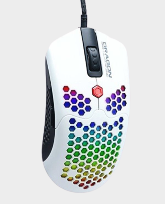 Dragon War ELE-G25-WH Ultra Light Honeycomb RGB Gaming Mouse 12000 DPI White in Qatar
