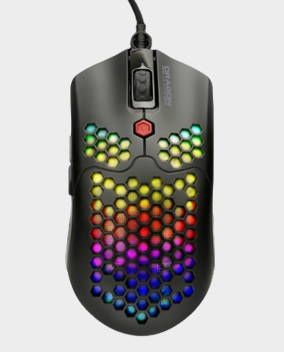 Dragon War ELE-G25-BK Ultra Light Honeycomb RGB Gaming Mouse 12000 DPI in Qatar