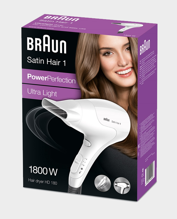 Braun HD180 Satin Hair 1 PowerPerfection Dryer with Styling Nozzle