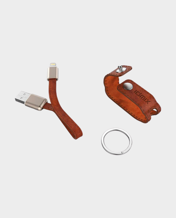 Idmix DL08 MFI Certified Leather Key Chain with USB Lightning Cable Brown