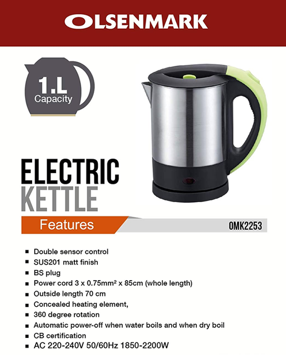 Olsenmark OMK2253 1 Litre Electric Kettle with Double Sensor Control Silver