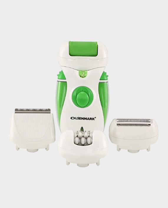Olsenmark OMLS3097 4-in-1 Rechargeable Lady Epilator - White/Green in Qatar