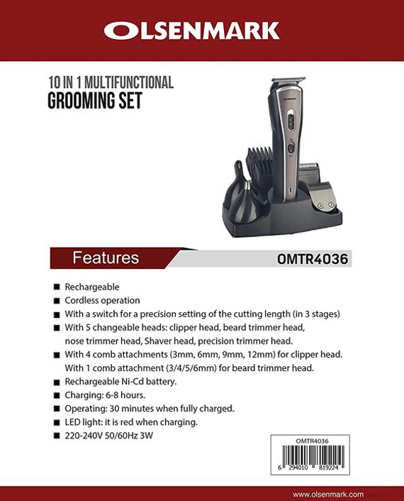 Olsenmark OMTR4036 10 In 1 Rechargeable Grooming Set