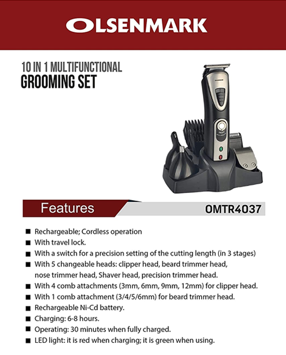 Olsenmark OMTR4037 10 in 1 Rechargeable Grooming Set