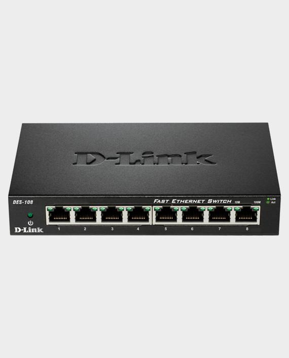 D-Link DES‑108 8‑Port Fast Ethernet Unmanaged Desktop Switch in Qatar