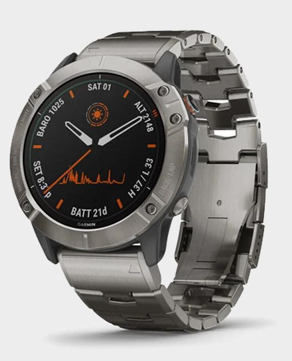 Garmin 010-02157-24 Fenix 6X Pro Smart Watch Titanium With Titanium Band