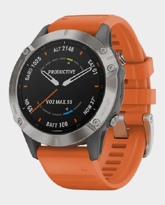 Garmin 010-02158-14 Fenix 6 Pro Sapphire Edition Smartwatch Titanium Orange in Qatar