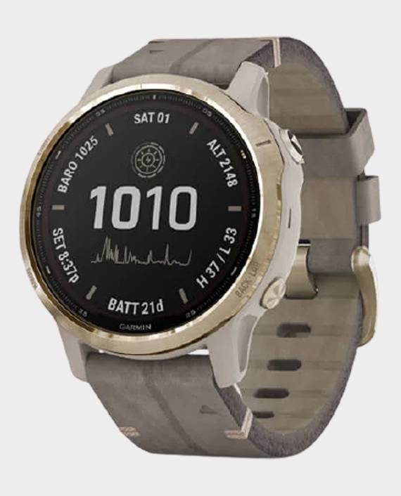 Garmin 010-02409-26 Fenix 6S Pro Solar Edition Smartwatch Light Gold Shale Grey in Qatar