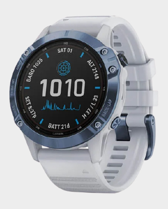 Garmin 010-02410-19 Fenix 6 Pro Solar Edition Smartwatch Mineral blue Whitestone in Qatar