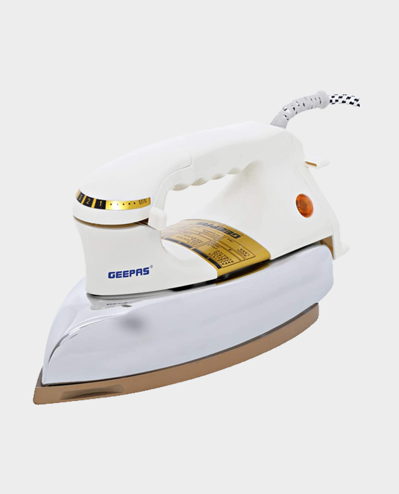 Geepas GDI23011 Heavy Weight Dry Iron with Non Stick Teflon Coating White in Qatar