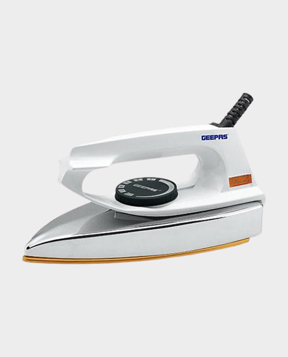 Geepas GDI7729 Dry Iron With Nonstick Golden Teflon Plate White in Qatar