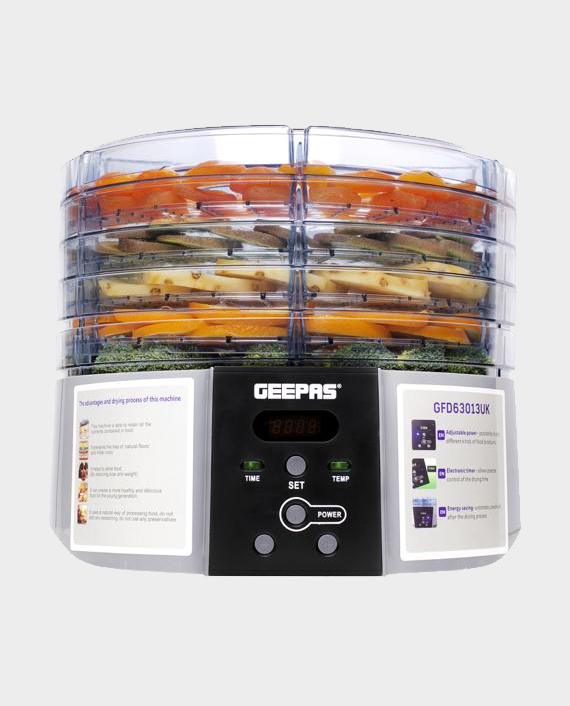 Geepas GFD63013UK 520W Digital Food Dehydrator with 5 Large Trays