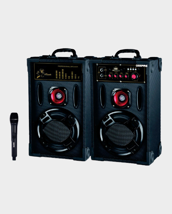 Geepas GMS8425 2.0 Channel Professional Speaker with Wireless Microphone in Qatar