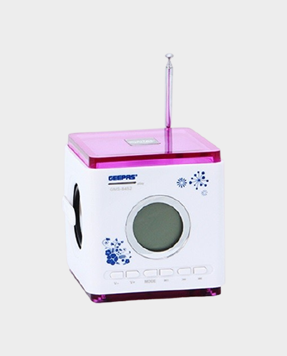 Geepas GMS8452 Rechargeable Mini Digital Music Box Home Theater System White & Pink in Qatar