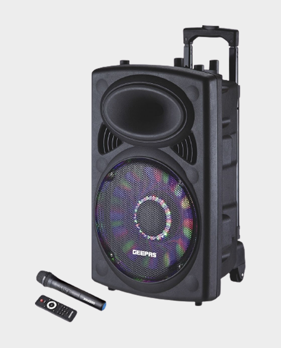 Geepas GMS8519 Rechargeable Trolley Speaker with Remote Control & Mic Black in Qatar