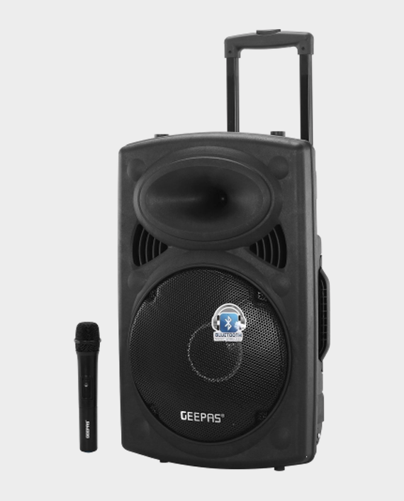 Geepas GMS8519 Rechargeable Trolley Speaker with Remote Control & Mic