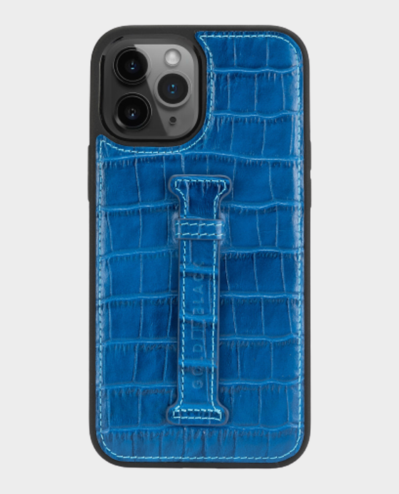 Gold Black iPhone 12/12 Pro Finger Holder Case Croco Blue in Qatar