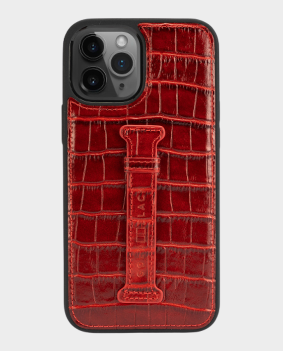 Gold Black iPhone 12/12 Pro Finger Holder Case Croco Red in Qatar