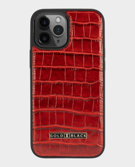 Gold Black iPhone 12/12 Pro Slim Case Croco Red in Qatar